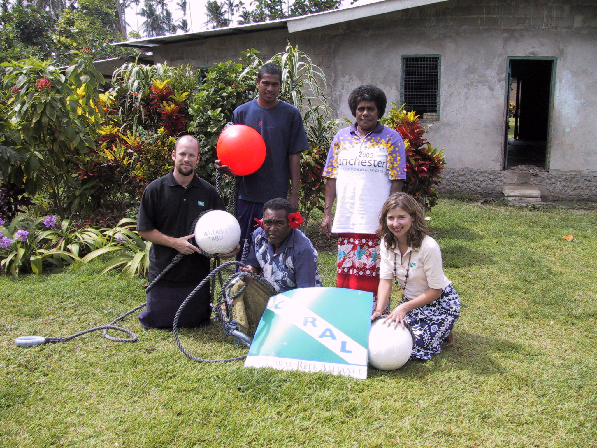 CORAL staff, Waitabu chief, and project coordinator